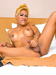Asian shemale Patty in fancy lingerie and sandals