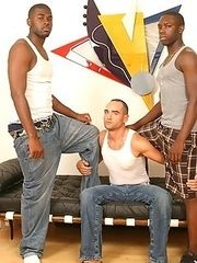 Interracial gay threesome assfucking  cumeating