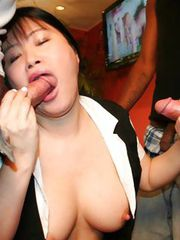 Japanese girl sucking COCK at a PARTY