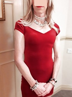RachelSexyMaid models red dress