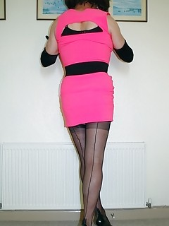 DENISE IN BLACK FF NYLONS AND HEELS